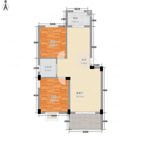 德邦翠馨居2室1厅1卫1厨89.00㎡户型图