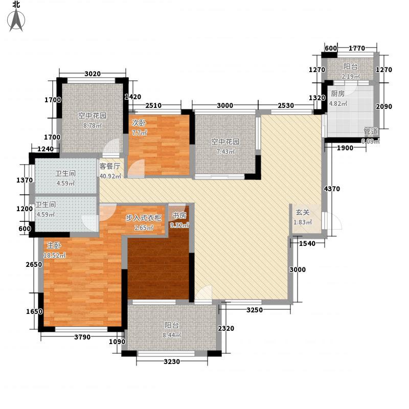 保利百合花园148.00㎡6栋1梯01户型4室2厅2卫1厨
