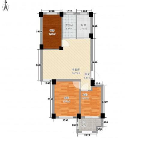 宏宸欧缘3室1厅1卫1厨78.00㎡户型图