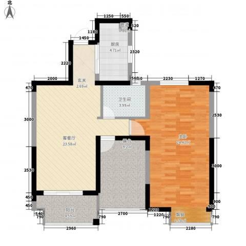 省委宣传部宿舍1室1厅1卫1厨100.00㎡户型图