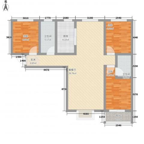 翡翠�亭3室1厅2卫1厨125.00㎡户型图
