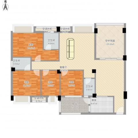 丽景华庭4室1厅3卫1厨188.00㎡户型图
