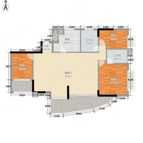 富邦名寓3室1厅2卫1厨174.00㎡户型图