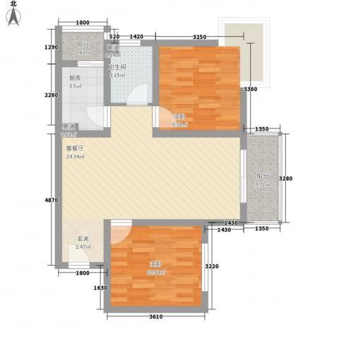 新长安广场2室1厅1卫1厨65.30㎡户型图