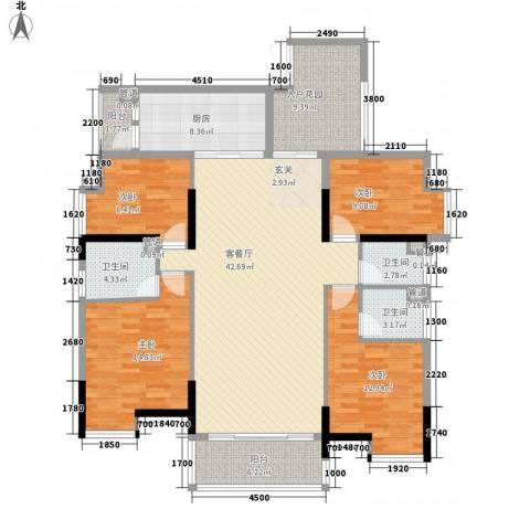 盈拓郦苑4室1厅3卫1厨147.00㎡户型图