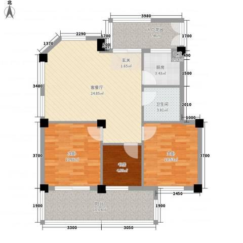 东源北院3室1厅1卫1厨82.00㎡户型图
