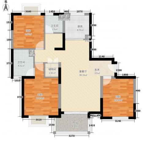 万兆东庭3室1厅2卫1厨118.00㎡户型图