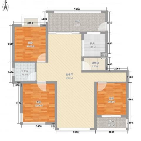 中邦城市3室1厅1卫1厨110.70㎡户型图