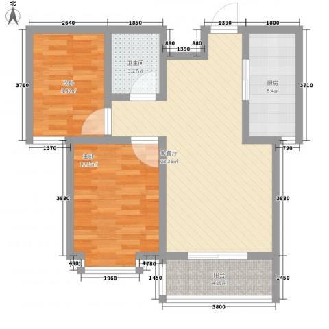 翡翠�亭2室1厅1卫1厨82.00㎡户型图