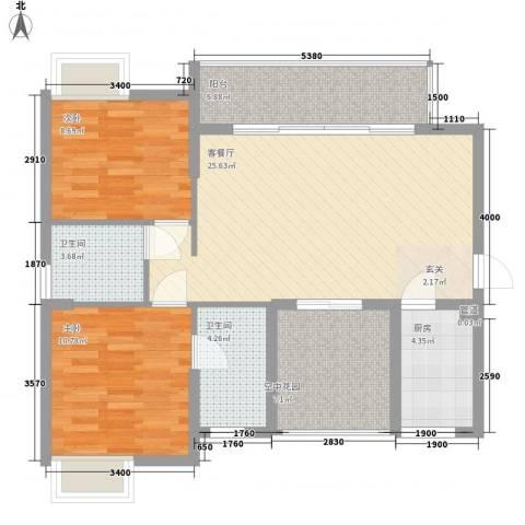 丽水佳园2室1厅2卫1厨71.40㎡户型图