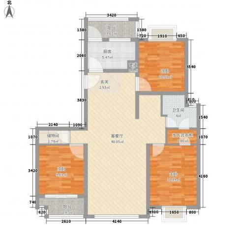中邦城市3室1厅1卫1厨132.00㎡户型图