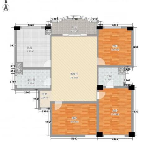 享域滨江3室1厅2卫1厨172.00㎡户型图