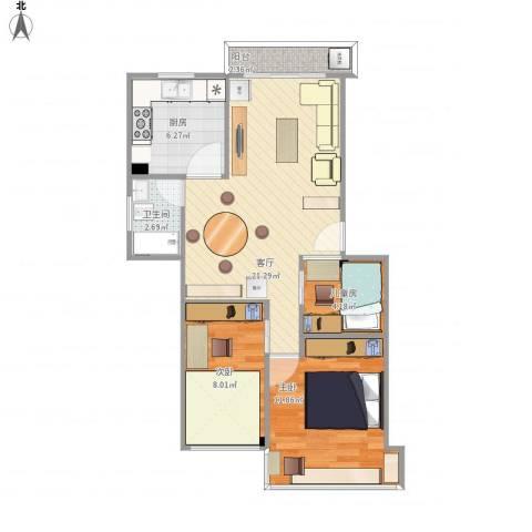 同德花园3室1厅1卫1厨77.00㎡户型图