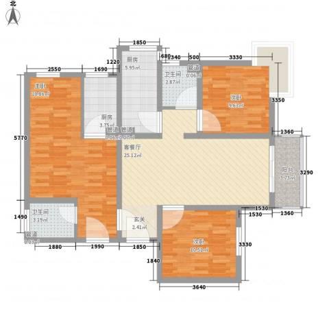 新长安广场3室1厅2卫2厨99.52㎡户型图