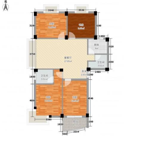 家和居4室1厅2卫1厨125.00㎡户型图