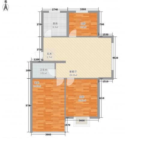 东方苑雅阁3室1厅1卫1厨80.76㎡户型图