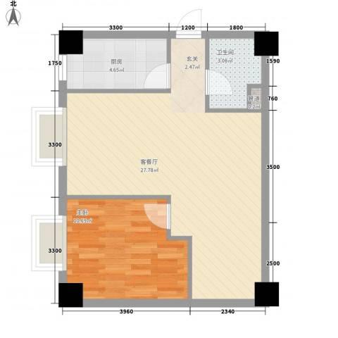大唐长风外事国际公寓1室1厅1卫1厨66.00㎡户型图