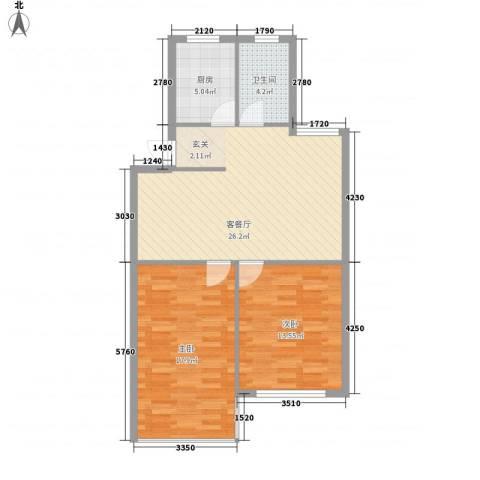 东方苑雅阁2室1厅1卫1厨66.88㎡户型图