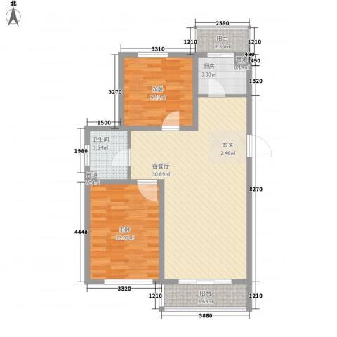 景星花园2室1厅1卫1厨75.30㎡户型图
