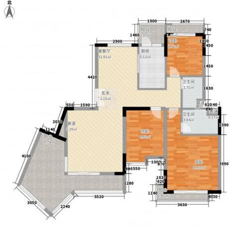 恒大雅苑3室1厅2卫1厨140.00㎡户型图