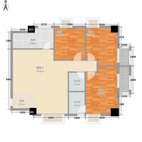 大唐长风外事国际公寓3室1厅2卫1厨136.00㎡户型图