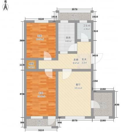 普利永庆街1号2室1厅1卫1厨98.00㎡户型图