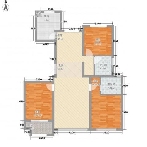 花栖左岸3室1厅2卫1厨137.00㎡户型图
