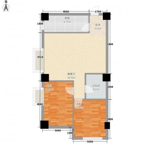 大唐长风外事国际公寓2室1厅1卫1厨91.00㎡户型图