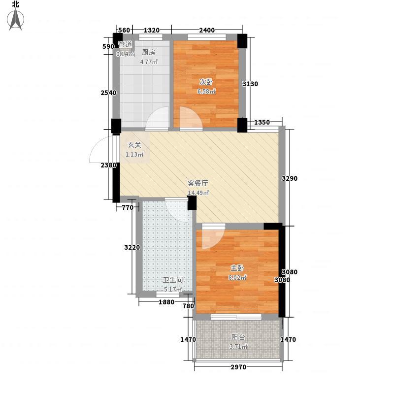 阳光逸城62.00㎡D户型2室2厅2卫2厨