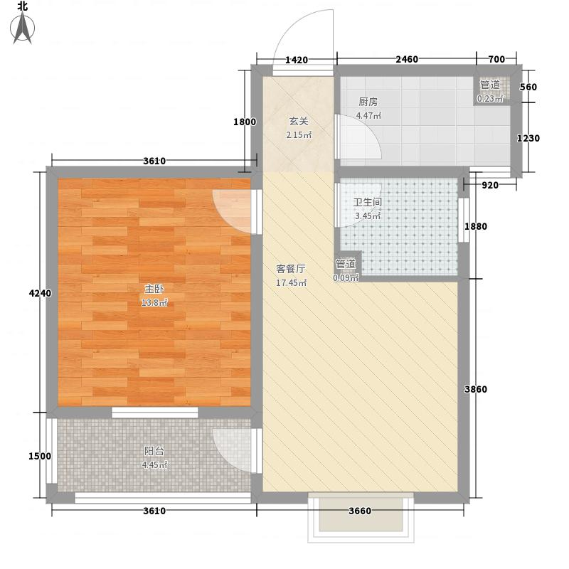 芙蓉山庄62.00㎡一期湖景高层-馨竹苑D-紫汀居户型1室1厅1卫