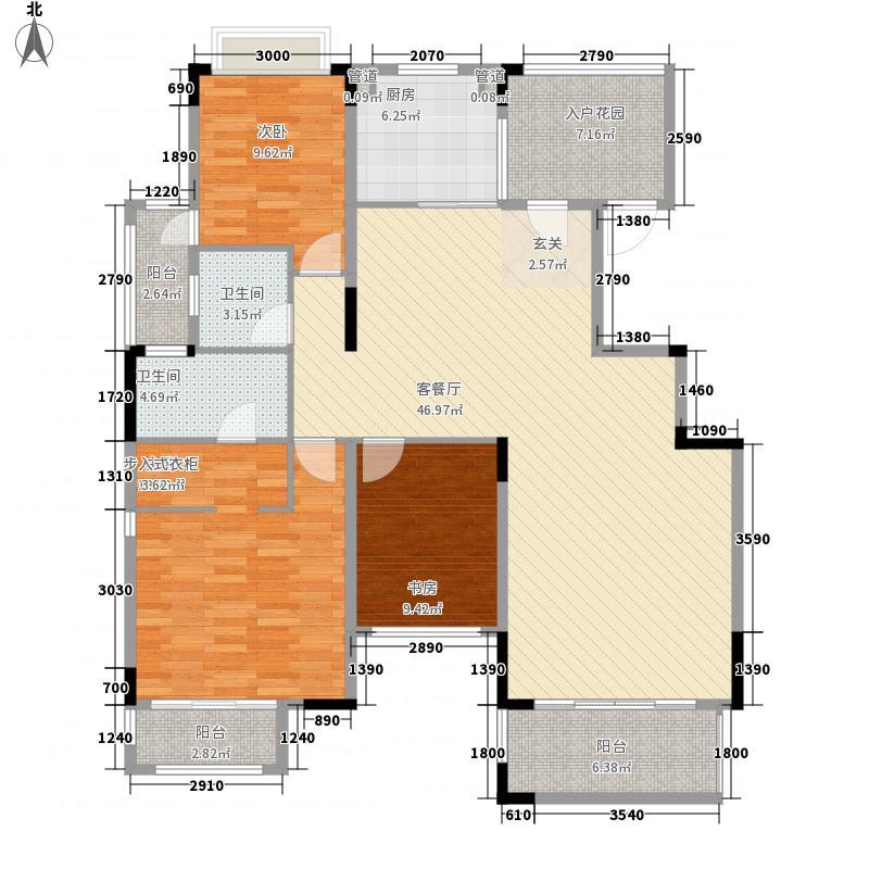 保利温泉新城142.00㎡A5奇数层户型3室2厅2卫1厨