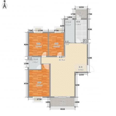 金华园3室1厅2卫1厨156.00㎡户型图