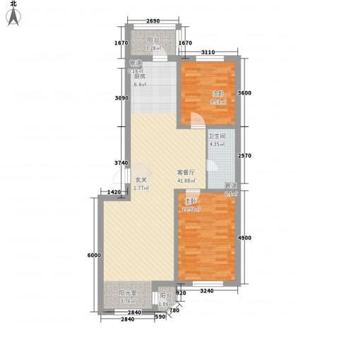亚泰国际花园2室1厅1卫0厨104.00㎡户型图