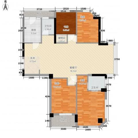 雅戈尔湖景花园4室1厅2卫1厨99.13㎡户型图