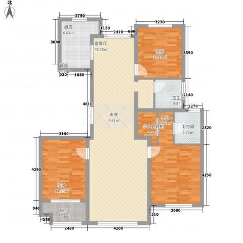 花栖左岸3室1厅2卫1厨144.00㎡户型图
