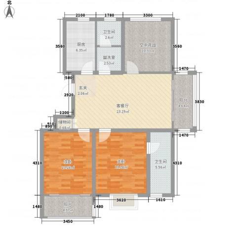 华夏春晓2室1厅2卫1厨125.00㎡户型图