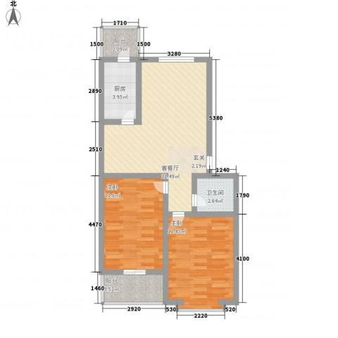 鑫泰园2室1厅1卫1厨84.00㎡户型图