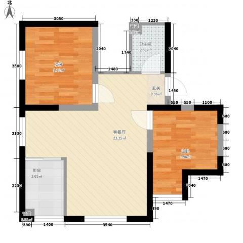 嘉汇华庭2室1厅1卫1厨65.00㎡户型图