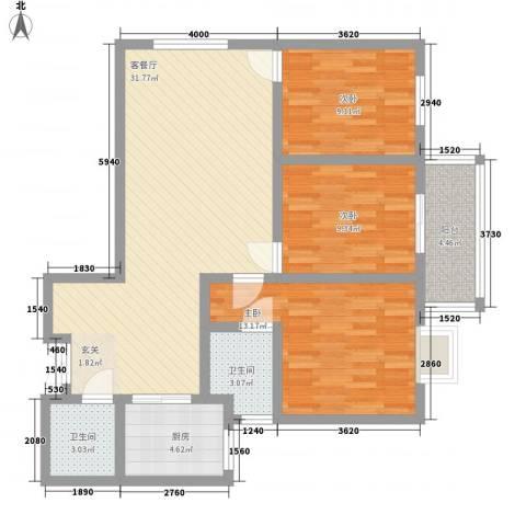 盛城东星3室1厅2卫1厨109.00㎡户型图