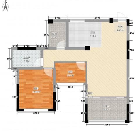 海尚花园2室1厅1卫0厨99.00㎡户型图