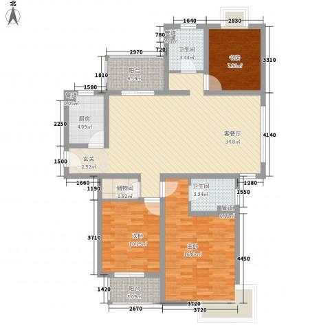 翠园世家3室1厅2卫1厨129.00㎡户型图