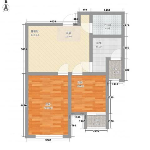 唐山里2室1厅1卫1厨73.00㎡户型图
