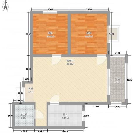 盛城东星2室1厅1卫1厨83.00㎡户型图
