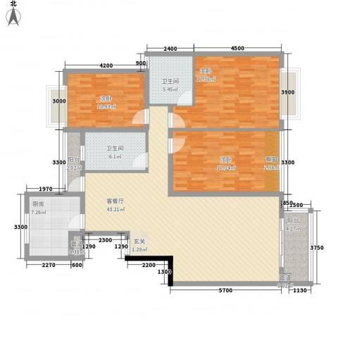 富怡名居3室1厅2卫1厨162.00㎡户型图