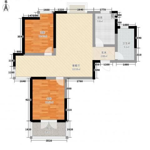 枫林雅都2室1厅1卫1厨108.00㎡户型图