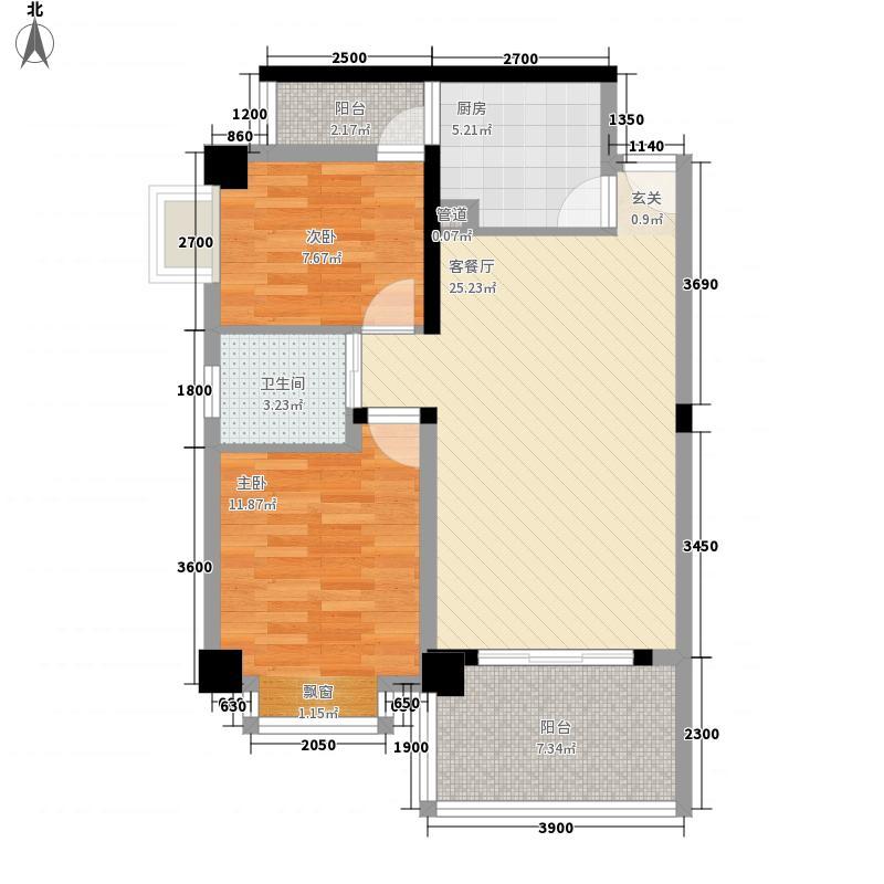 南辰景秀79.00㎡C型户型2室2厅1卫1厨