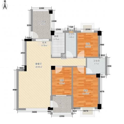 帝景豪庭3室1厅2卫1厨108.00㎡户型图