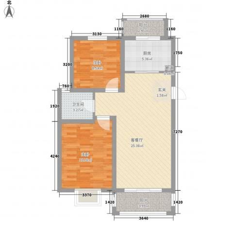 翠园世家2室1厅1卫1厨93.00㎡户型图