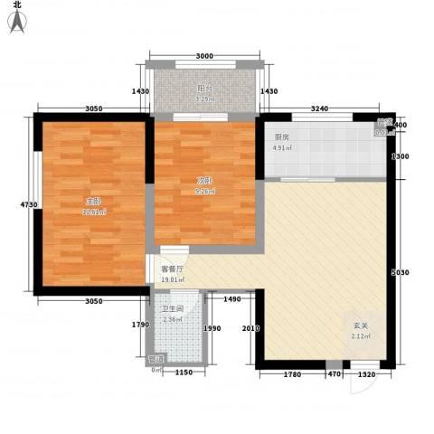 嘉汇华庭2室1厅1卫1厨74.00㎡户型图