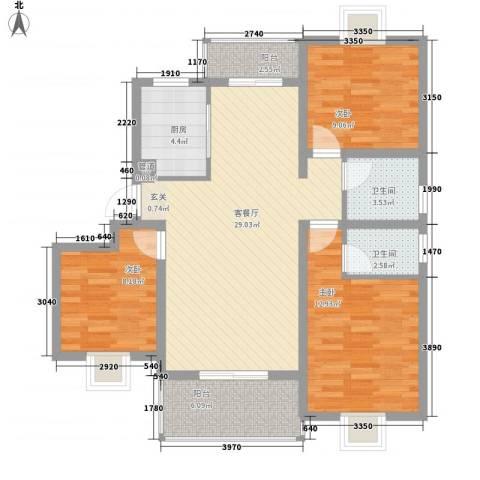 美琪小区3室1厅2卫1厨113.00㎡户型图